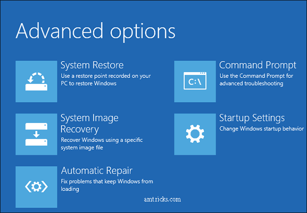 Windows 10 advanced boot options