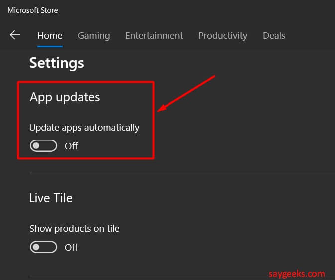 turn off windows store auto updates
